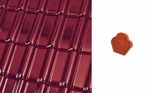 """Коньковый конечный торцевой элемент """"трилистник"""" Roben FLANDERNplus красное вино глазурь"""