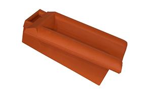 Керамическая черепица боковая подконьковая правая Koramic E 32 Red Engobe