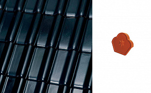 """Коньковый конечный торцевой элемент """"трилистник"""" Roben FLANDERNplus черный матовая глазурь"""