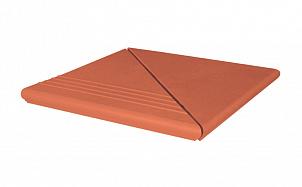 Клинкерная ступень угловая веницианская рифленая KING KLINKER Рубиновый красный (01)
