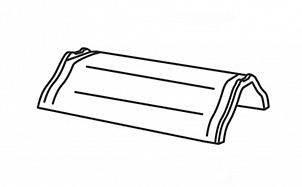 Керамическая центральная коньковая черепица с зажимами для конька (2 штуки) BRAAS Саттель глубокий черный глазурь
