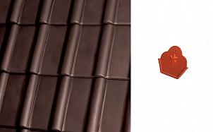 Коньковый начальный торцевой элемент Roben Piemont коричневый гаванский ангоб