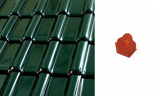"""Коньковый начальный торцевой элемент """"трилистник"""" Roben FLANDERNplus темно-зеленый глазурь"""